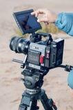 安塔利亚,土耳其- 2019年1月8日:与红色龙6k照相机的摄制 免版税库存照片