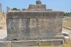 安塔利亚Perge古城,集市,罗马帝国街道的古老废墟 图库摄影