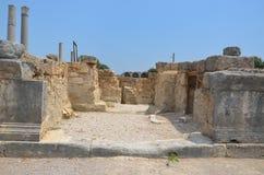 安塔利亚Perge古城,集市,罗马帝国街道的古老废墟 免版税库存图片