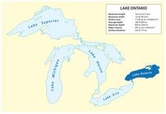 安大略湖信息向量地图在北美 库存例证