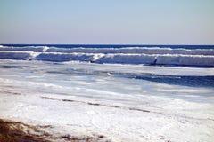 安大略湖冬天海滩 免版税图库摄影