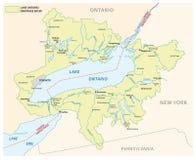 安大略湖流域传染媒介地图 皇族释放例证