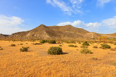 安大路西亚沙漠地点电影西班牙塔宾斯沙漠自行车赛 免版税库存照片