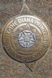 戴安娜威尔士王妃纪念步行的一块匾 库存照片