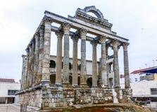 戴安娜寺庙的罗马废墟在梅里达,西班牙 免版税库存图片