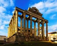 戴安娜寺庙 梅里达,西班牙 免版税库存照片