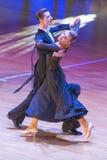 安娜Sneguir和肠骨Shvaunov执行WDSF国际WR舞蹈杯的青年标准节目 免版税库存照片