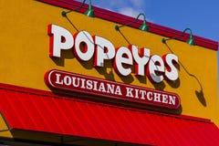 安徒生-大约2016年10月:Popeyes路易斯安那厨房快餐餐馆 Popeyes为Cajun样式炸鸡被认识我 库存图片