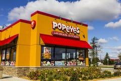 安徒生-大约2016年10月:Popeyes路易斯安那厨房快餐餐馆 Popeyes为Cajun样式炸鸡被认识III 免版税库存图片
