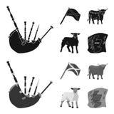 安德列耶夫,苏格兰,公牛,绵羊,苏格兰的地图状态旗子  在黑色的苏格兰集合汇集象 免版税库存照片