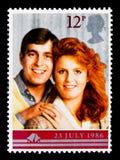 安德鲁和萨拉,皇家婚礼serie,大约1986年 库存照片