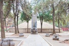 安徽,中国- 2015年11月20日:特性皇帝陵墓(Tangwangling) 库存照片