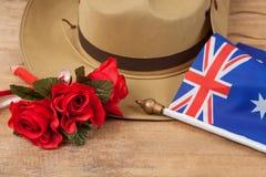 安扎克军队有澳大利亚旗子的宽边软帽 免版税图库摄影