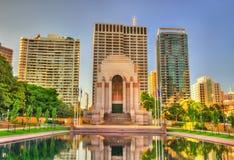 安扎克战争纪念建筑在海德公园-悉尼,澳大利亚 库存照片