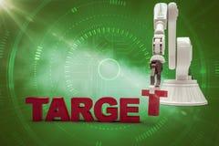 安排目标文本3d的机器人胳膊的综合图象 免版税库存图片