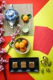 安排装饰春节&月球假日的顶视图空中图象 免版税库存图片
