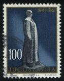 安排铁托的纪念碑在Titovo Uzice 免版税库存照片