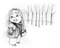 安排雪动画片铅笔画俏丽的女孩在冬天 免版税库存照片