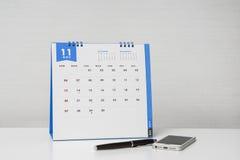 安排11月业务会议的日历 库存图片
