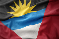 安提瓜和巴布达挥动的旗子  免版税库存图片