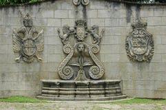 安提瓜岛喷泉危地马拉墙壁 免版税库存照片