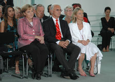 安格拉・默克尔,弗朗茨・贝肯鲍尔,海蒂Burmeister (贝肯鲍尔) 免版税库存照片