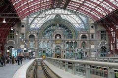 安特卫普中央火车站的上层 图库摄影