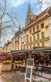 安特卫普中心广场的餐馆  免版税图库摄影