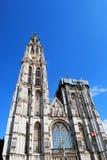 安特卫普圣母大教堂在历史市中心在安特卫普 免版税图库摄影