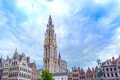 安特卫普大广场在富兰德,比利时 库存图片