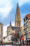 安特卫普我们的夫人都市风景和大教堂耸立 库存照片