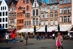 安特卫普老镇,比利时 库存图片
