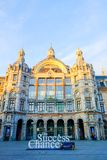 安特卫普,比利时,外部5月2019年,安特卫普中央驻地大厦在比利时人的 图库摄影