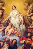 安特卫普-我们的从Carmel油漆的夫人细节从19。分的末端的G. Wappers。在圣查尔斯Borromeo churc上主要法坛  图库摄影