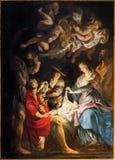 安特卫普-诞生场面油漆由巴洛克式的了不起的画家彼得・保罗・鲁本斯的在圣徒Pauls教会(Paulskerk)里 免版税库存照片