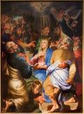 安特卫普- Pentecost场面油漆马泰斯Voet在圣Pauls教会(Paulskerk)里 库存照片