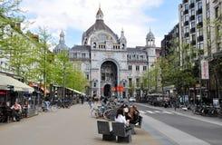 安特卫普Centraal火车站,比利时外部看法  免版税库存图片