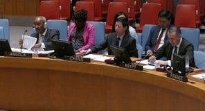 安理会7760见面的联合国 免版税库存照片