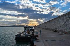 安科纳,马尔什,意大利口岸日落 库存照片