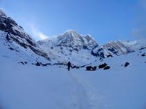 安纳布尔纳峰迁徙对annapurna营地的盆地步行 库存照片