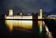 安置伦敦晚上议会 图库摄影