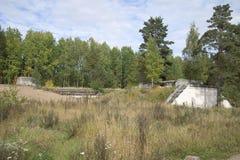 安置堡垒红色小山9月下午的10英寸(245 mm)枪 冬天 免版税图库摄影