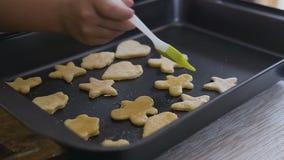 安置曲奇饼面团的妇女手的特写镜头在烘烤盘子 与糖结冰的未加工的形状曲奇饼在烘烤盘子 股票视频