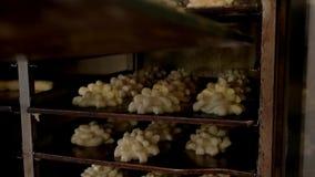 安置未加工的面团的厨师在机架在制造 影视素材