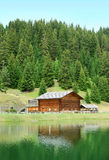 安置湖valgardena 免版税图库摄影