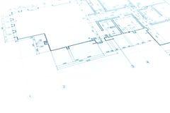 安置计划图纸,技术图画,一部分的建筑p 免版税图库摄影