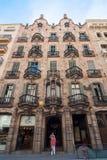 安置门面住处Calvet,设计由安东尼奥Gaudi 巴塞罗那西班牙 免版税库存图片