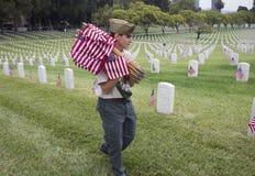 安置85,在每年阵亡将士纪念日事件的000面美国旗子,洛杉矶国家公墓,加利福尼亚,美国的Boyscout 免版税库存照片