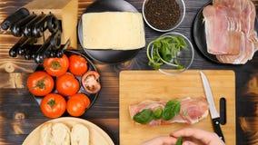 安置greenary在三明治在厨房 影视素材