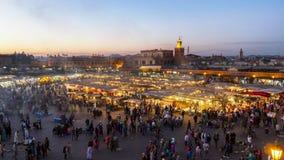 安置Jemaa El Fna,马拉喀什,摩洛哥 库存图片